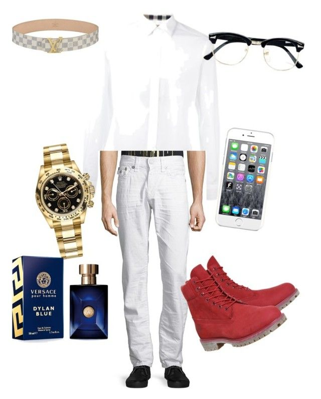 """fresh #2"" by brezzybri145 on Polyvore featuring Burberry, True Religion, Timberland, Rolex, Versace, Maison Kitsuné, Topman, Louis Vuitton, men's fashion and menswear"