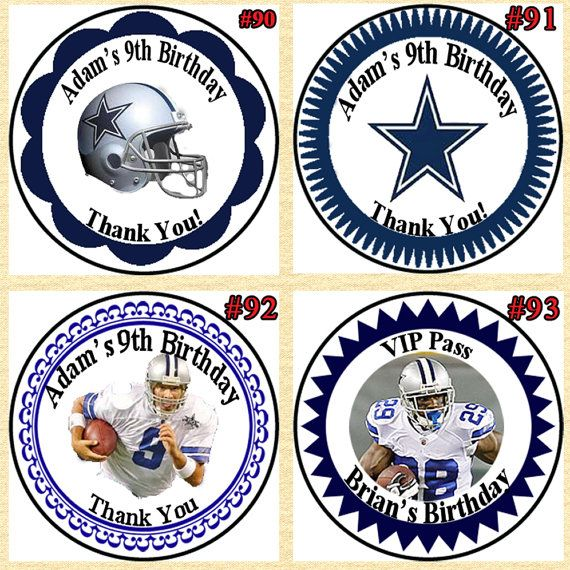 Dallas Cowboys Football Birthday Stickers by BBDesignPrinting