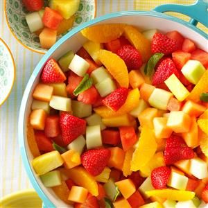 Fresh Fruit Bowl Recipe -The glorious colors used here make this a great summer salad. Slightly sweet and chilled, it makes a nice accompaniment to a grilled entree. —Marlon Kirst, Troy, Michigan