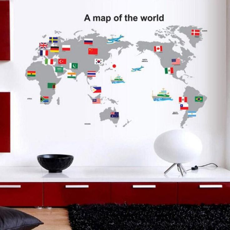 large PVC World Map Wall Sticker DIY office living room home decorations House Sticker mural wall decals poster Concise decor 2 #Affiliate