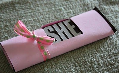 """-Hershey Baby Shower favors; Reveal """"He"""" or """"She"""" for gender of baby"""