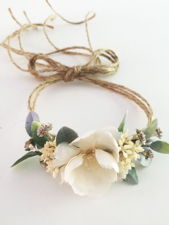 Tieback Flower Crown Headband, Newborn Photo Prop, Baby Tieback Flower Crown…