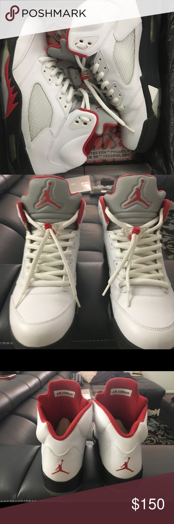 AIR JORDAN 5 (2013) Fire Red SZ13 AIR JORDAN 5 (2013) Fire Red SZ13 Used, with original box. They still have the Sole Protectors on. The black spot on sole is dirt on the Sole Protector. The rest of the shoe is clean! Even the sides haven't changed to yellow! I have the original laces as well. Stored in the box for more than a year now!  Selling cause I have more Jordan's that I haven't used yet!!! I take really good care of them and will send in double box! Any questions msg me! Offer Up…