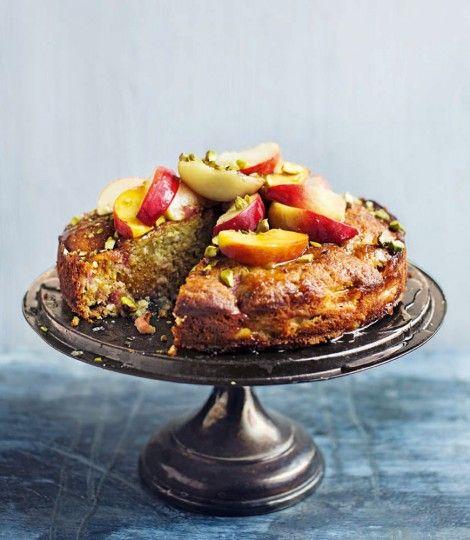 Warm-peach,-pistachio-and-honey-cake