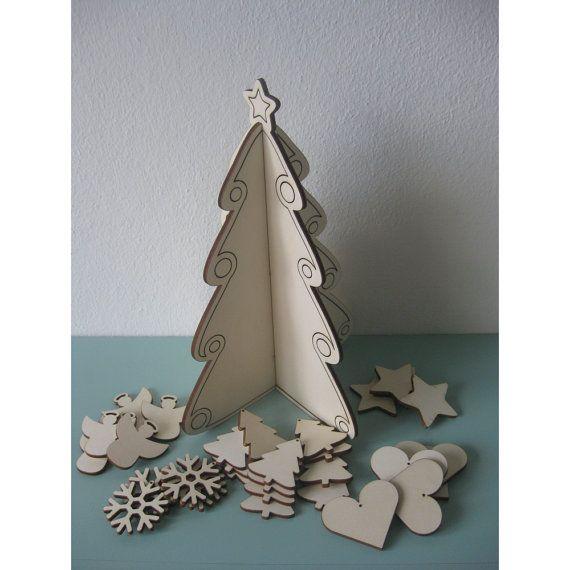 Albero di natale, sagoma natalizia da decorare, altezza 28 cm, albero tridimensionale, decorazione festività natalizie,decorazione fai da te