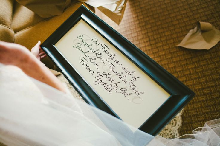 "wedding gift from groom to bride on their wedding day to hang in their home together. ""Our family is a circle of strength and love…Founded on Faith…Joined in love…Kept by God…Forever together."" #lifeinhearts"