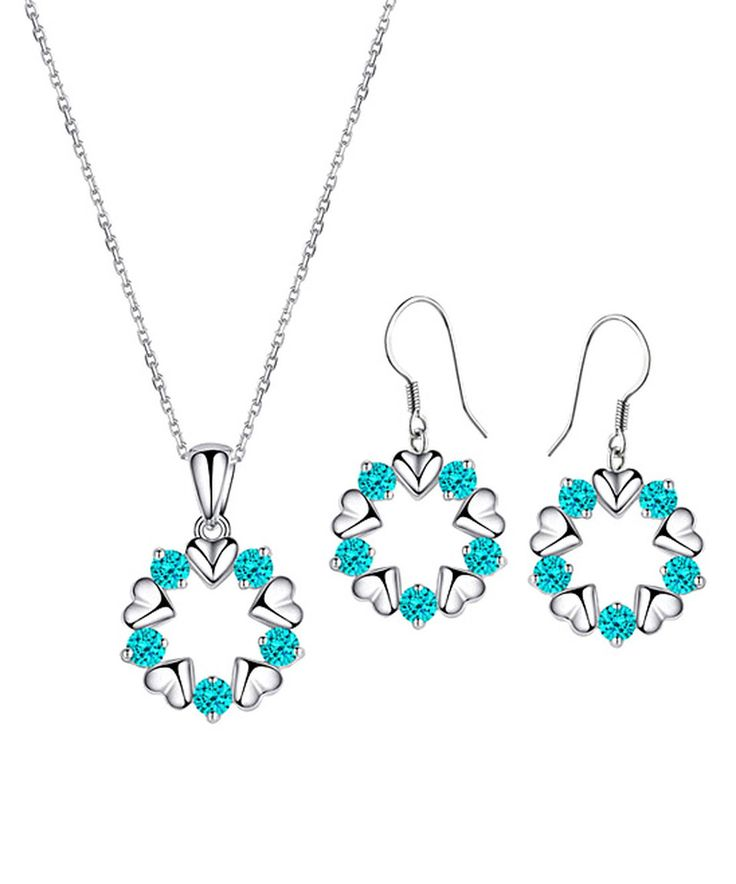 Rhodium Plated Aquamarine Color Pendant Earrings Set Made With Swarovski Crystals Online India