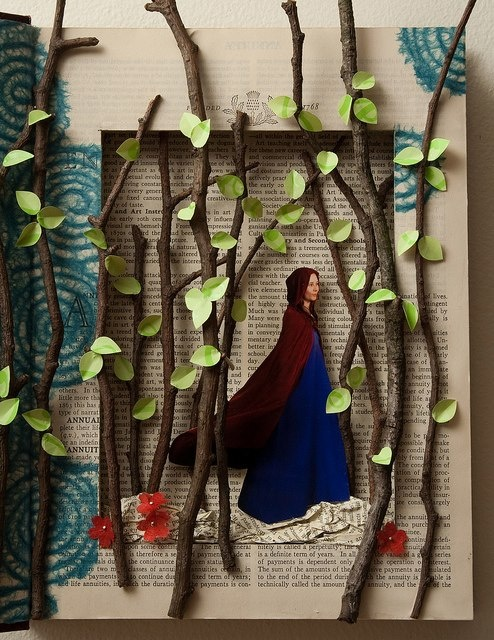 How amazing is this? And super-cool that the artist explains how she made it! Be sure to check out her blog it get the goods on how she did it. http://rachaelashe.com/2011/03/28/altered-book-little-red-riding-hood/