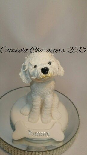 Polymer clay Bichon Frise dog. Sculpted by Laura Barton - Cotswold Characters