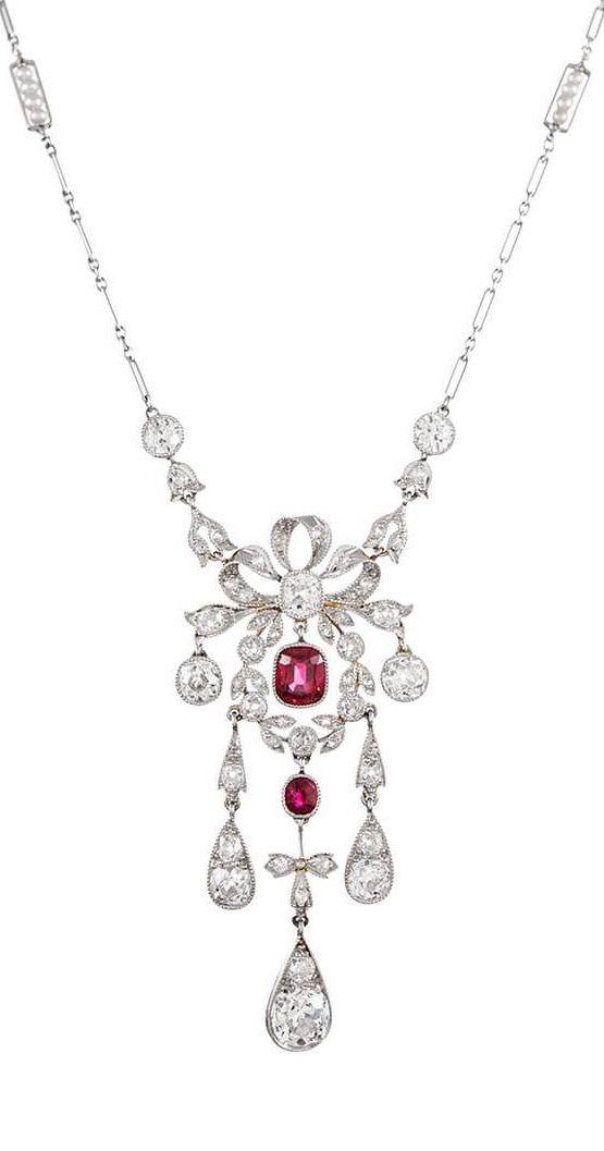 Edwardian Burma No Heat Ruby & Diamond Necklace | When I will win