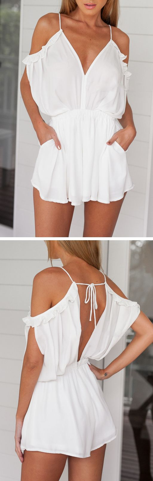 Grecian ruffled playsuit