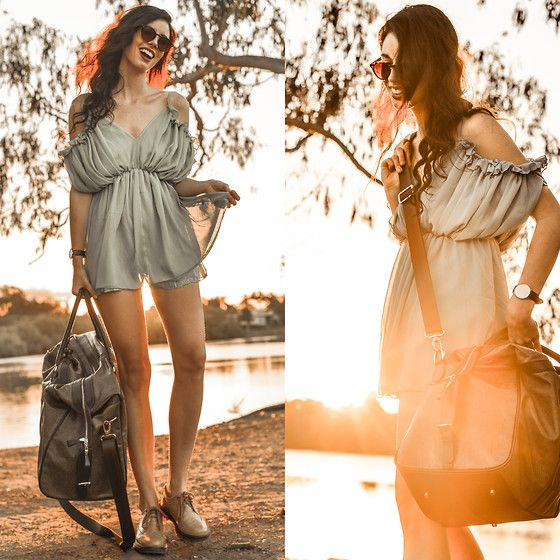 Choies Green Pleated Playsuit, I Carry Alls  Antiqued Pattern Brown Leather Duffel Bag, Daniel Wellington  Classic Sheffield Lady Watch