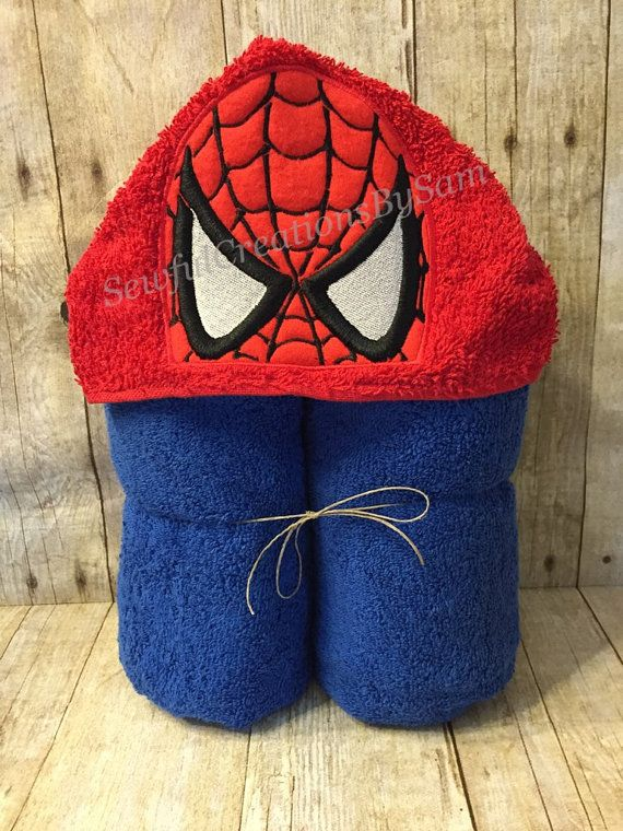 Spiderman Inspired Hooded Towel Birthday by SewfulCreationsbySam - this one for sale; pinned for inspiration