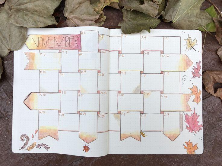 Der Herbst ist da! November Kalender für mein Bullet Journal – #Bullet # bulletjournal2019 #bulletjournalaesthetic #bulletjournalapril