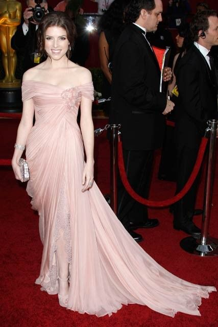 Anna Kendrick in a stunning blush pink Elie Saab Haute Couture gown and Sergio Rossi suede platforms (2010)