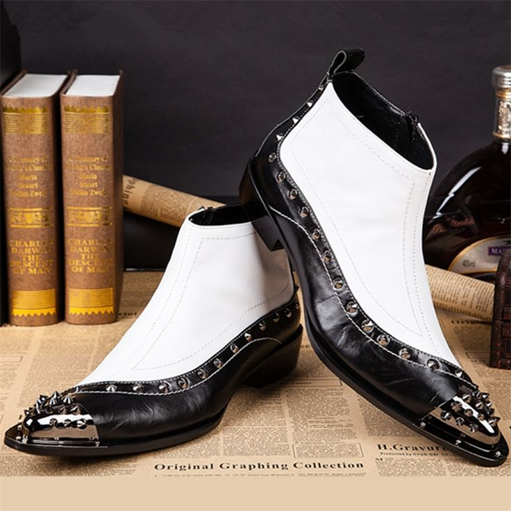 92.40$  Buy now - http://aliygk.worldwells.pw/go.php?t=32728168182 - Black White Men Genuine Leather Ankle Boots Metal Pointed Toe Side Zipper Military Boots Rivets Wedding Dress Shoes Botas Hombre