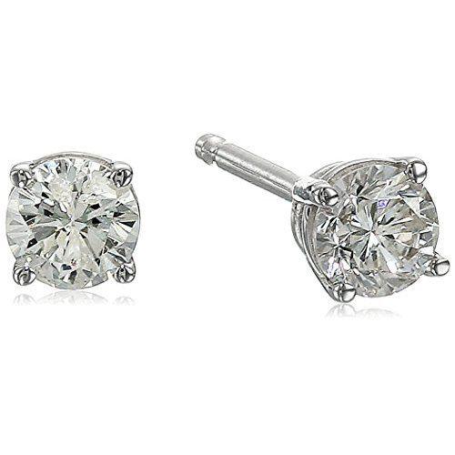 14K White Gold Diamond Stud Earrings (1/4 cttw, K-L Color, I2-I3 Clarity) - $0