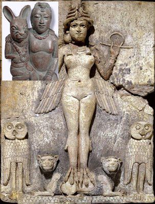 Easter Ishtar goddess. Notice the bunny on the statue to the left! ~~ Note the comments/pictures are shared for your consideration. I invite you to research this.