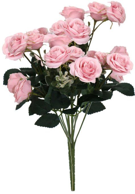 Artificial Tiny Rose Bouquets Decorative Flowers Home Decor Set of 2 Pink