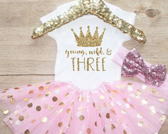 Birthday Girl Dress / Baby Girl Clothes Young Wild Three