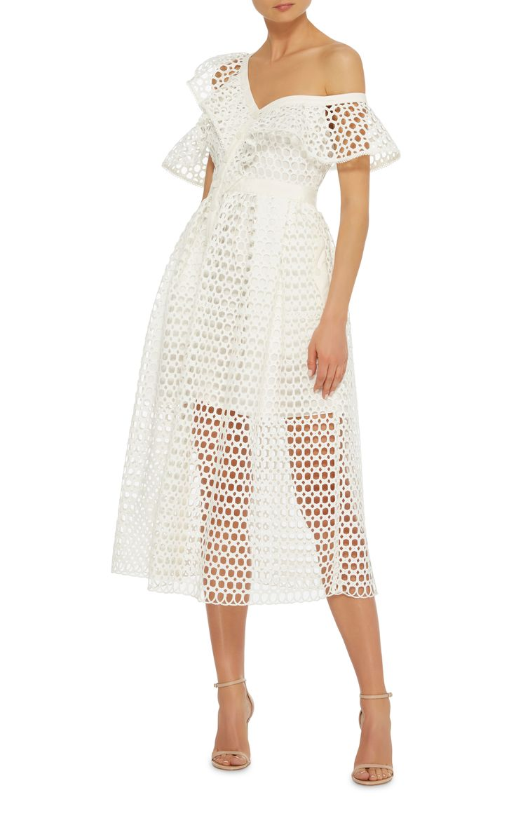 Off-The-Shoulder Ruffled Midi Dress by SELF PORTRAIT Now Available on Moda Operandi