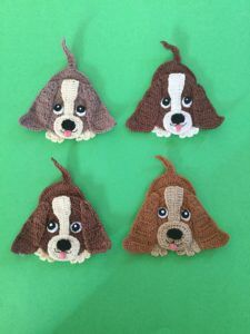 Get the free crochet pattern for this basset hound dog applique.