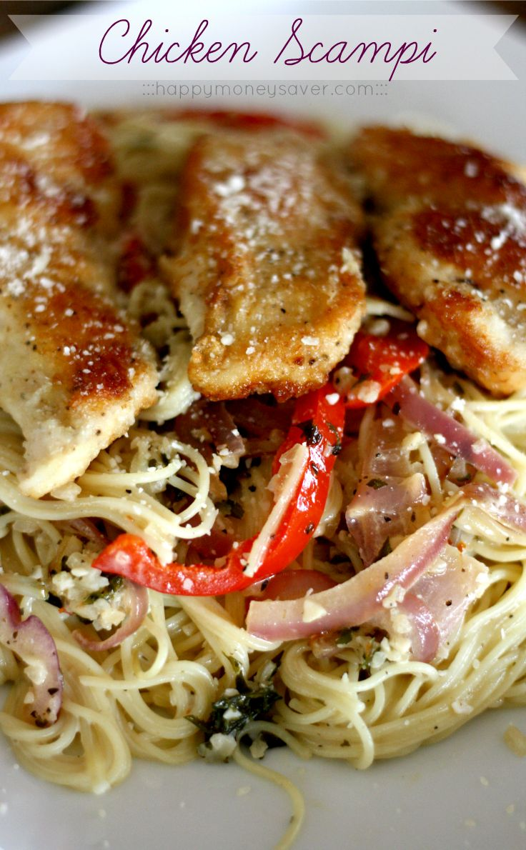 This chicken scampi recipe is to die for. Angel hair pasta covered in a creamy garlic sauce with caramelized onions and bell peppers & topped with chicken.