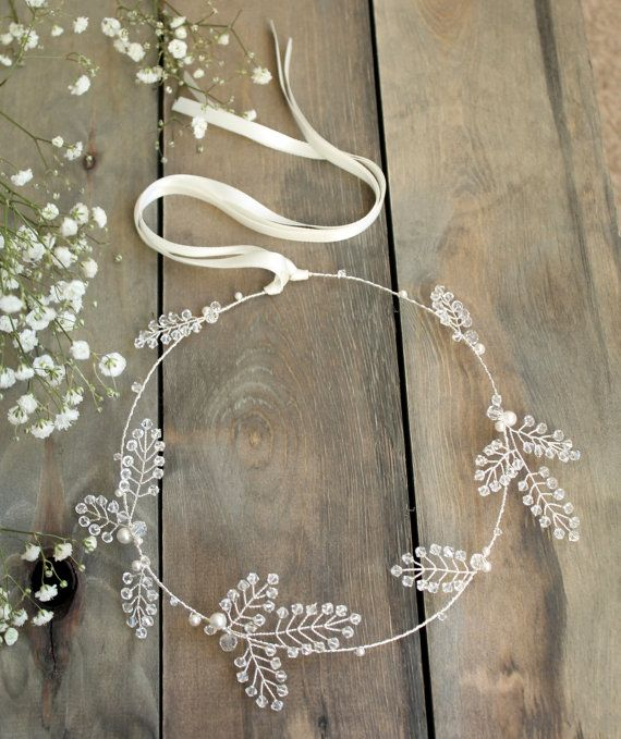 bridal hair vine, wedding accesories, crystal headpiece, winter wedding headpiece, crystal bride halo, Swarovski leaf wreath, flower crown