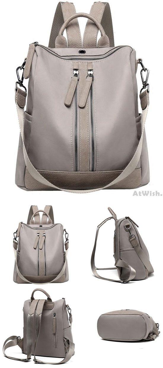 Elegant Waterproof Double Zipper PU Multi-function Handbag Large School Backpack for big sale! #large #school #Handbag #backpack #Bag #college