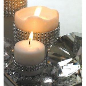 diamond-crystal-meshRhinestones, Ideas,  Tapered, Wedding Decor, Ribbons, Candles Holders, Diamonds Candles, Diamonds Wraps,  Wax Lights