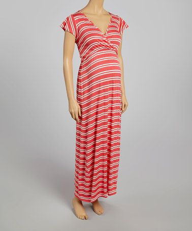Look what I found on #zulily! Coral & White Stripe Maternity V-Neck Maxi Dress - Women by Can't Wait Maternity #zulilyfinds $34.99, regular 55.00