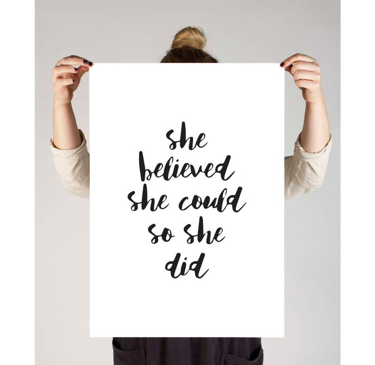 "Motivational, She Believed She Could So She Did"", Printable Art, Typography Art, Prints,Inspirational Quote,Motivational Quotes,Dorm Decor by TheDesignHouzz on Etsy"