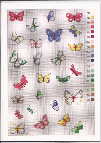 1224 best crafts butterflies cross stitch images on for Farfalle a punto croce