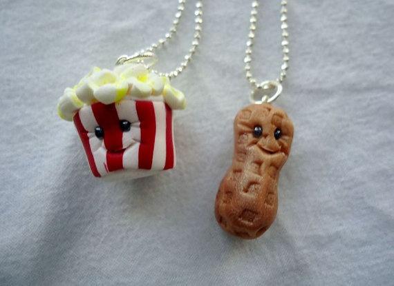 Peanut & Popcorn Best Friends Necklaces by ArtbyAshLigon on Etsy, $12.99