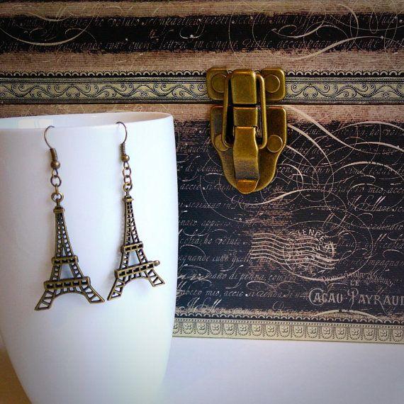 Bronze Eiffel Tower dangling earrings Paris gift for her