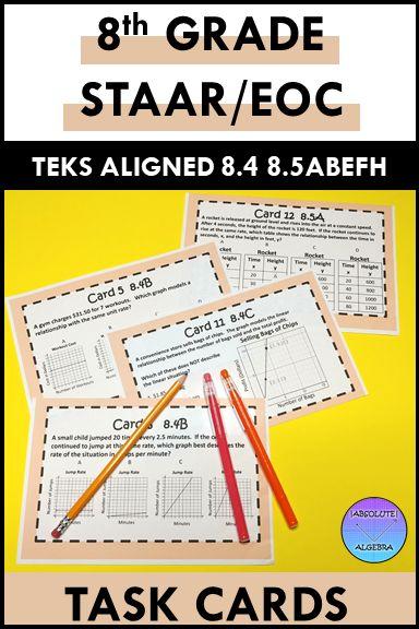 8th Grade STAAR EOC TEKS Aligned Task Cards 8.4 A,B,C & 8 ...