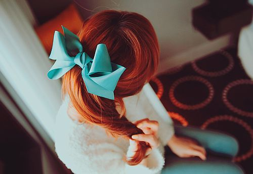 : Mermaids Hair, Blue Bows, Hair Colors, Red Hair, Tiffany Blue, Hair Bows, Redhair, Big Bows, The Little Mermaids