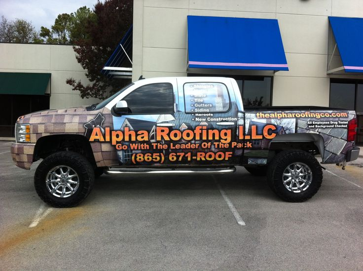 Alpha Roofing Vehicle Wrap 1   Knoxville, TN #vehiclegraphics #vehiclewraps  | Printedge Vehicle Graphics   Knoxville, TN | Pinterest