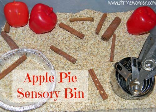 Apple Pie Sensory Bin... switch the plastic apples for real ones and a butter knife to practice cutting them and this is an awesome idea for a fall theme or cooking theme (imagine all the other cooking related sensory bin ideas this will inspire!)