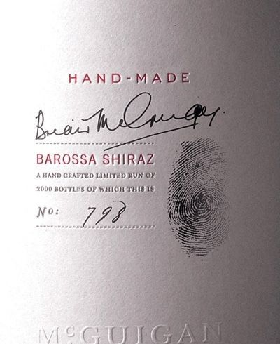 McGuygan - Weinetikett- Fingerprint weiß Handschrift klar dezent