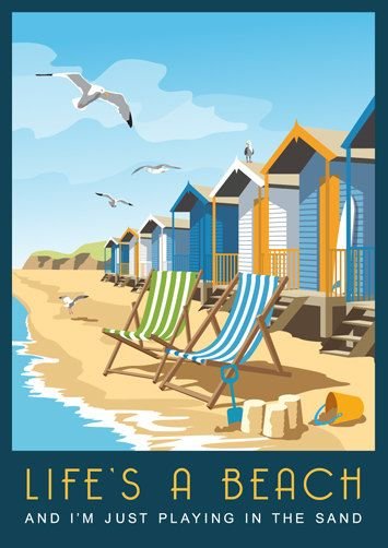 A typical British seaside beach scene with beach huts, deck chairs and a bucket and spade on the sand. Even a couple of seagulls! This was drawn originally for a gift company to be used on many different items. I released it as a print when people started asking for it as a poster. This is one print from a series of over 120 images by White One Sugar, a group of Kent based artists. It has been printed onto good quality paper using light fast inks so your picture will look good for years to…