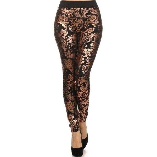 Black Copper Leggings ($100) ❤ liked on Polyvore featuring pants, leggings, legging pants, flower print leggings, floral printed pants, flower print pants and floral print trousers