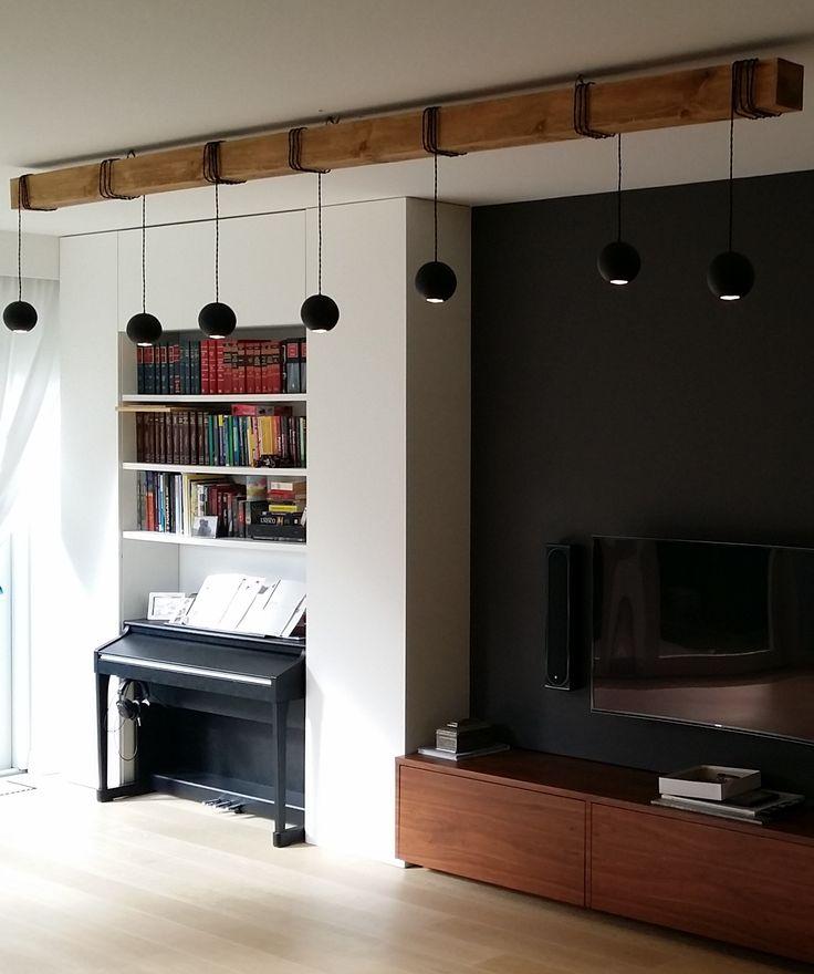 Lampa Bella; projekt Jacek Tryc - wnętrzahttp://tryc.pl, realizacja Cubeo.  Lampa na sosnowej belce, może mieć różne kolory i wisieć na dowolnym rodzaju drewna, Dostosujemy ją do Twoich pragnień! Lamp Lamp Bella;project: @Jacek Tryc-wnetrza http://tryc.pl,realization: @cubeo1601 - meble #lamp #wood #interior #designe #light