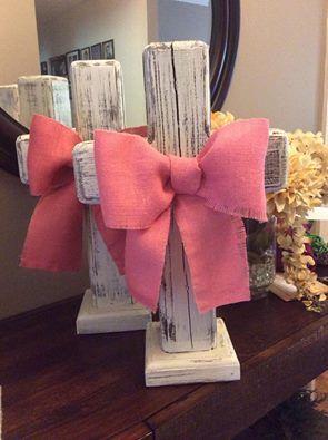 Shabby chic baby girl baptism dinner, baby shower or wedding cross centerpiece On Etsy at MLOldRuggedCrosses