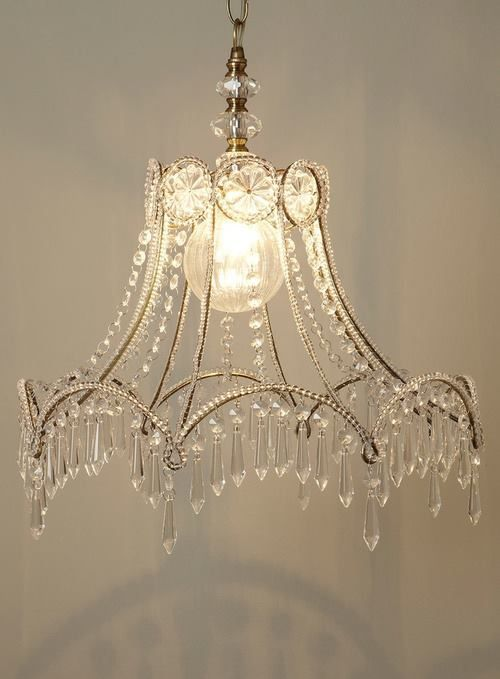 From a lamp shade. Seriously such a good idea! I will be doing it for over my bed!