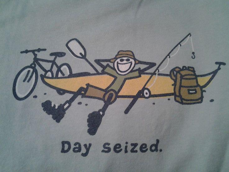 Life Is Good Mens Tshirt Fish Biking Kayaking Fishing Hiking Day Seized | eBay