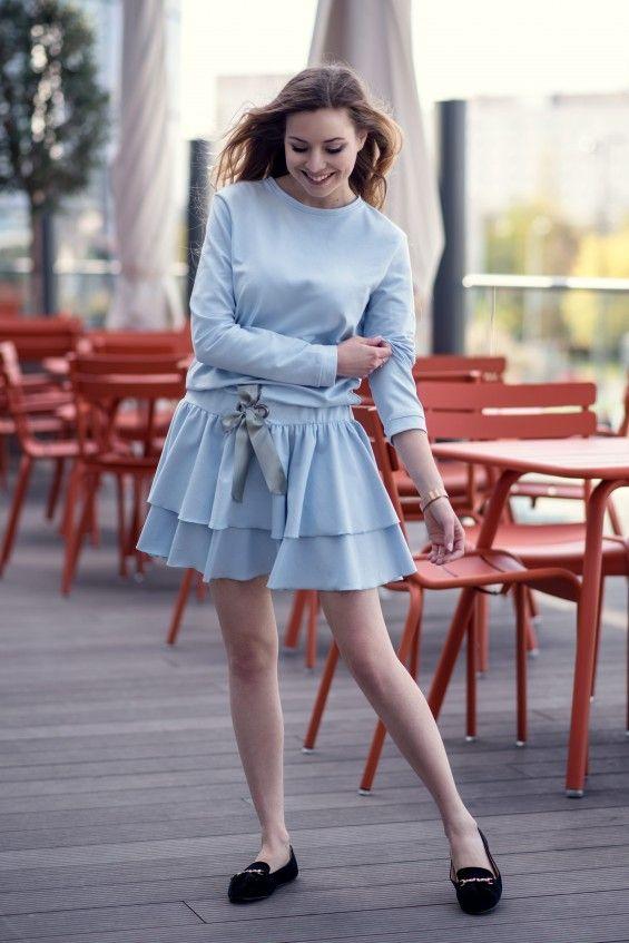 Sukienka z kokardką niebieska Cranberry