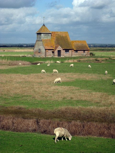 St Thomas-A-Becket Church, Fairfield, Kent, UK by Oast House Archive, via Geograph, this 15th  century church stands alone on an island on the marshes of Kent. It is accessed by footbridge from the public footpath