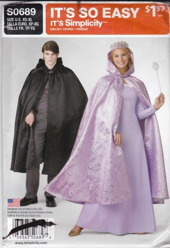 Patterns for adult hooded capes with