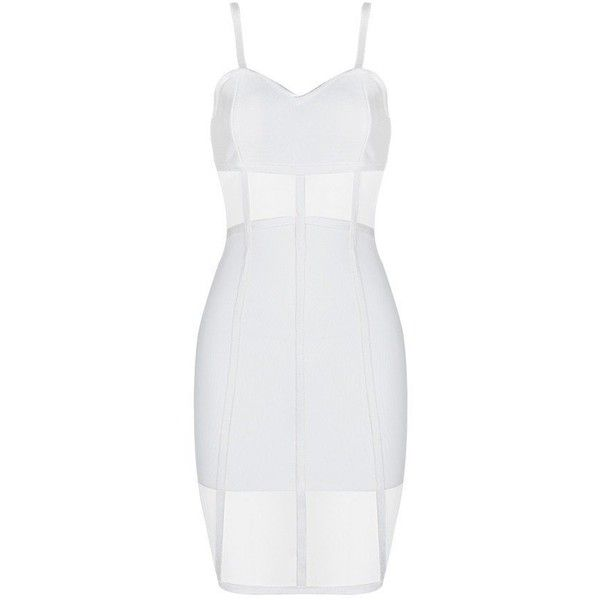 Honey couture rosy white sheer mesh insert bandage dress ($159) ❤ liked on Polyvore featuring dresses, cocktail dresses, white evening dresses, sexy evening dresses, sexy white dresses and white bandage dress